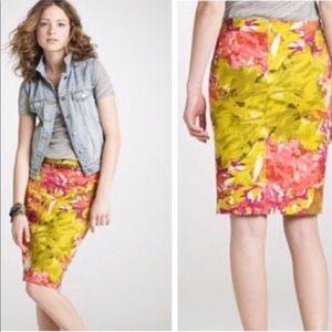 J. Crew Floral Impressionist Pencil Skirt Size 10